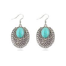 New Women Drop Turquoise Earring Hollow Out Tibetan Silver Alloy Metal Dangle Earring 2015 Fashion Jewelry No Mini Order 25*33mm(China (Mainland))