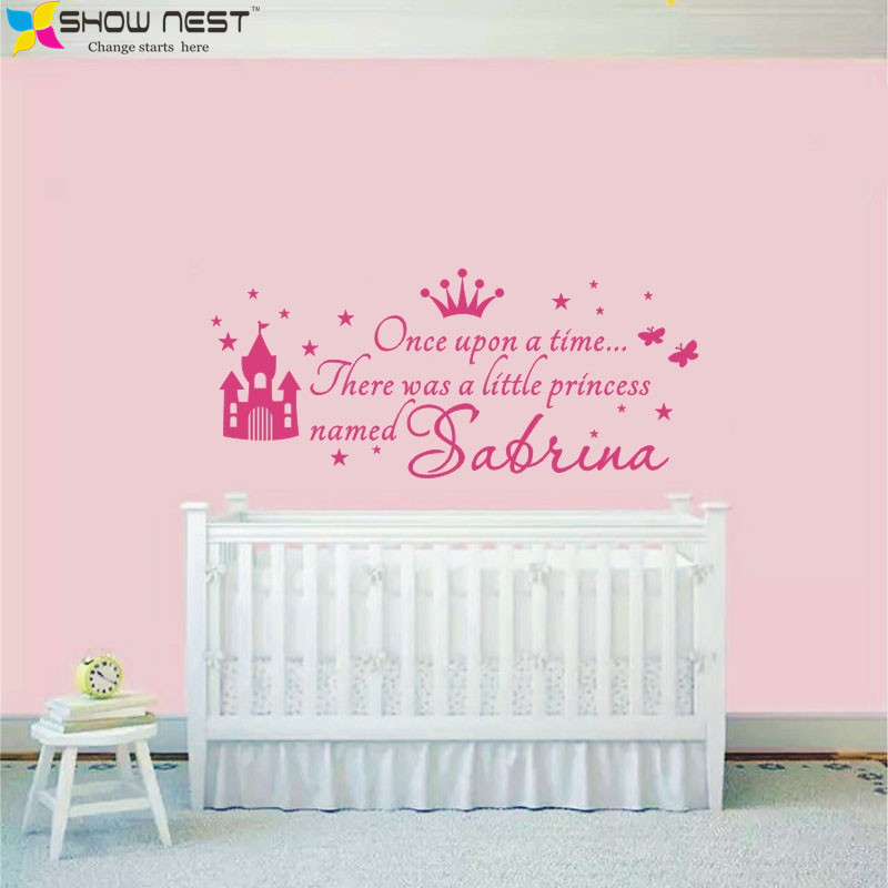 Custom Princess Girl Name Decals Wall Sticker For Kids Rooms Baby Girl Nursery Wall Decals Girl's Bedroom Wall Art Home Decor(China (Mainland))