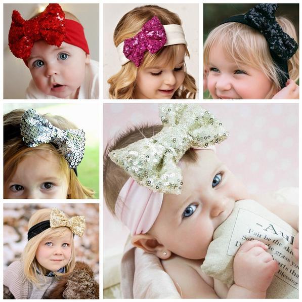 Retail Gold sequin bow headband, sequin hair bow turban headband for baby girls hair accessories(China (Mainland))