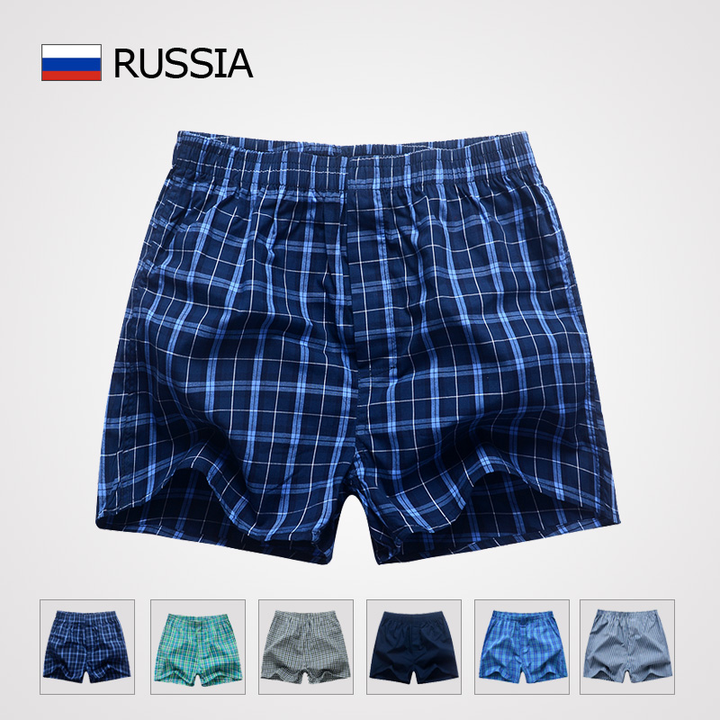 Mens Underwear Boxers Shorts Cueca Cotton Underpants Male High Quality Brands Plaid Loose Comfortable Home Panties Plus Size 3XL(China (Mainland))