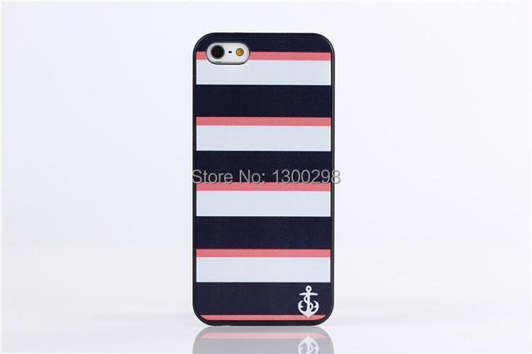 Free shipping Manufacturers can produce custom chart within Blue red white three colors of the anchor case for Apple iPhone 5 5s(China (Mainland))