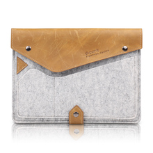 D-park New Luxury Style Crazy Horse Leather & Wool felt sleeve Case For apple ipad air 2 bags For iPad Pro 9.7 inch Tablet(China (Mainland))