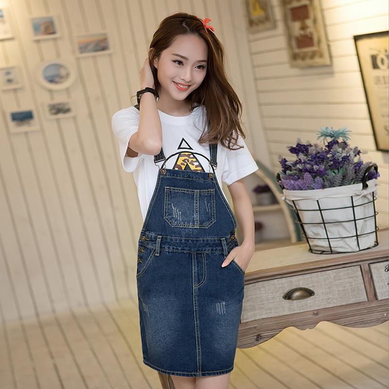 2016 Summer Dresses for women Spaghetti Strap Pinafore Denim Dress 2016 Hot Sale Casual Sleeveless Korean Plus Size Clothes(China (Mainland))