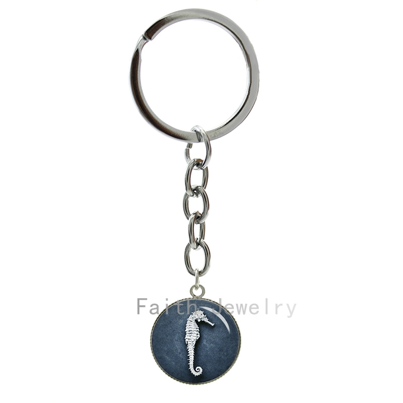 Vintage Nautical Blue Seahorse keychain charm Marine Life picture key chains Ocean style Seahorse gifts for Wedding Party 1315(China (Mainland))