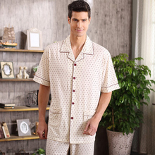 Summer 2016 short sleeve men pajama sets 100% cotton Polka Dots style pyjamas male cotton sleepwear casual soft homewear A5022(China (Mainland))