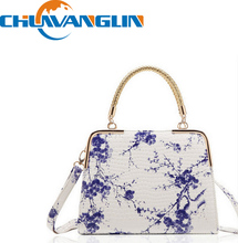 ZL11212The new national wind tide retro blue and white porcelain Chinese style plum handbag shoulder fashion female bag