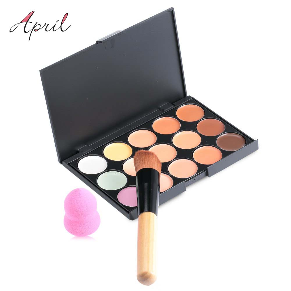 New 15 Colors Contour Face Cream Makeup Set for Pincel Maquiagem Concealer Palette with Powder Puff Brush Make Up Cosmetic Set(China (Mainland))