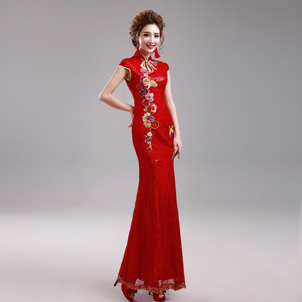 Traditional Cheongsam Red Chinese Traditiona...