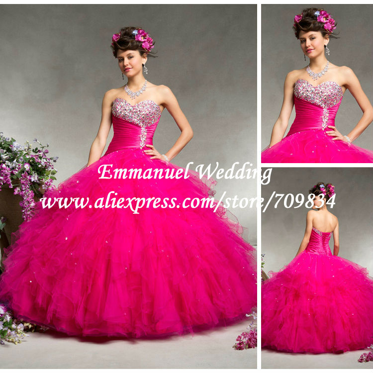 Stunning Designer Charming Style Ruffles Sweetheart Red Ball Gown Prom Dresses Long vestido de fiesta 2014 TB582 - Emmanuel Wedding store
