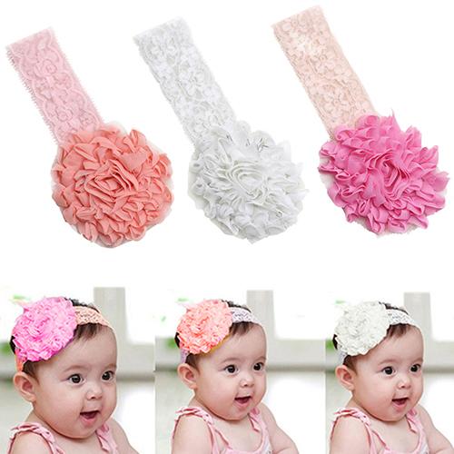 Baby Toddler Girl Lace Flower Hair Band Headband Cute Soft Elastic Headdress 7D8W(China (Mainland))