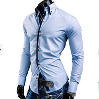 2015 new arrival shirts men's double layer collar candy color buckle long-sleeved shirt.free shipping