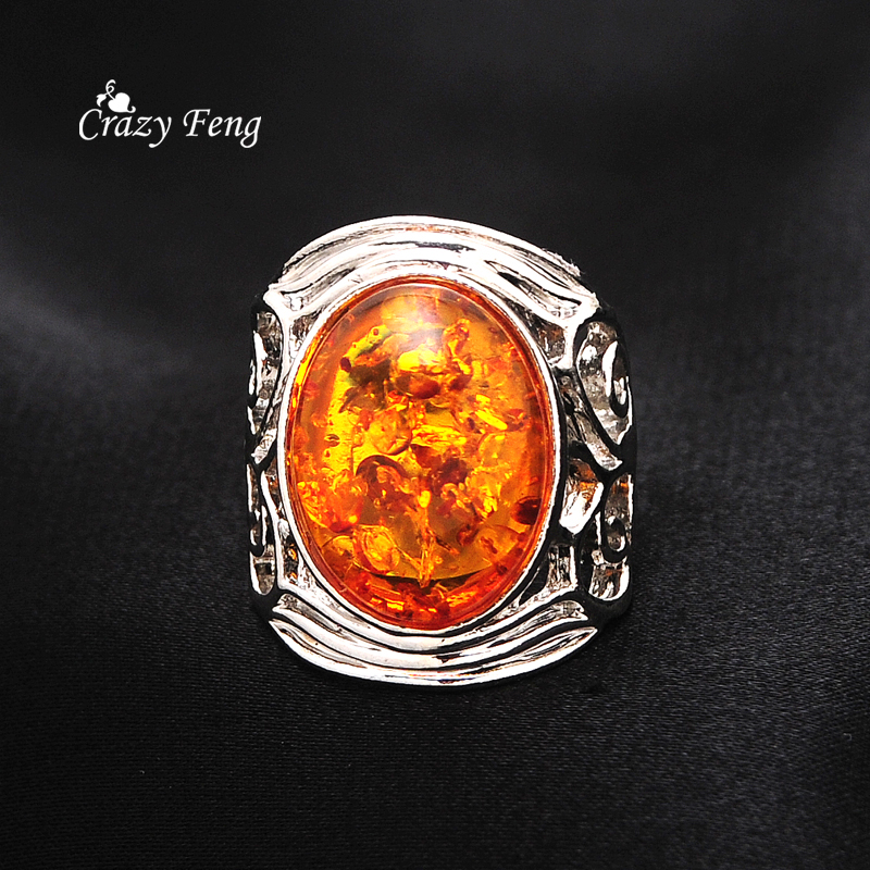 2016 new amber stone rings for women fashion vintage for Amber stone wedding ring
