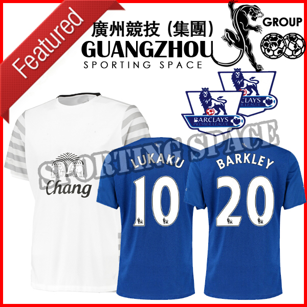 2015 2016 Evertones soccer jersey 15 16 Evertones football shirts home blue away white LUKAKU BARKLEY English Premier League(China (Mainland))