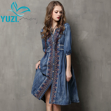 Summer Style Vestidos 2017Yuzi.may Vintage Cotton Dress Half Sleeve V-Neck A-Line All Match Drawstring Loose Women Dresses A6531(China (Mainland))