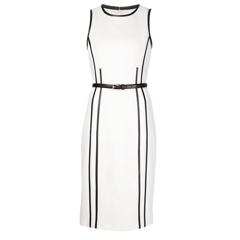 High Quality New 2016 Summer Business Dress Women Black White Color Block Slim Fit Back Slit Cotton Pencil Dress Office Ladies(China (Mainland))