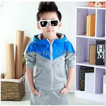 2014 new arrive baby boys clothes set hoodied clothes suit 3 colors boys sports suit Retail