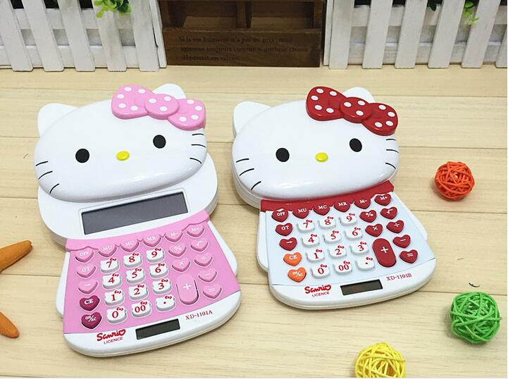 Hello Kitty 12digit Electronic Calculator Push Cover Cute Design Calculator Student Calculadoras Solar/Battery Power Calculating(China (Mainland))