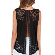 S-4XL Summer Women Chiffon Crochet Lace vest Blouse Shirt Sexy Open Back sleeveless shirt tank tops Black Blusas Femininas 1150C(China (Mainland))