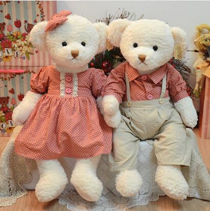 Hot 2 pieces 65cm giant couple teddy bear plush toy stuffed bear doll birthday&christmas gift(China (Mainland))