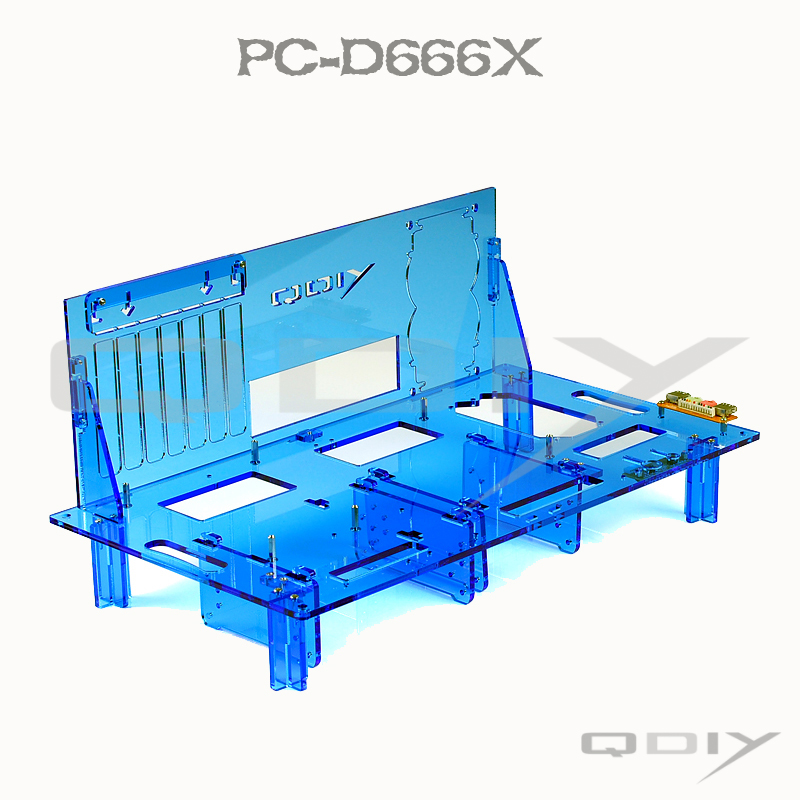 QDIY PC-D666X HTPC Horizontal ATX Acrylic Blue Personalized DIY Computer Case(China (Mainland))