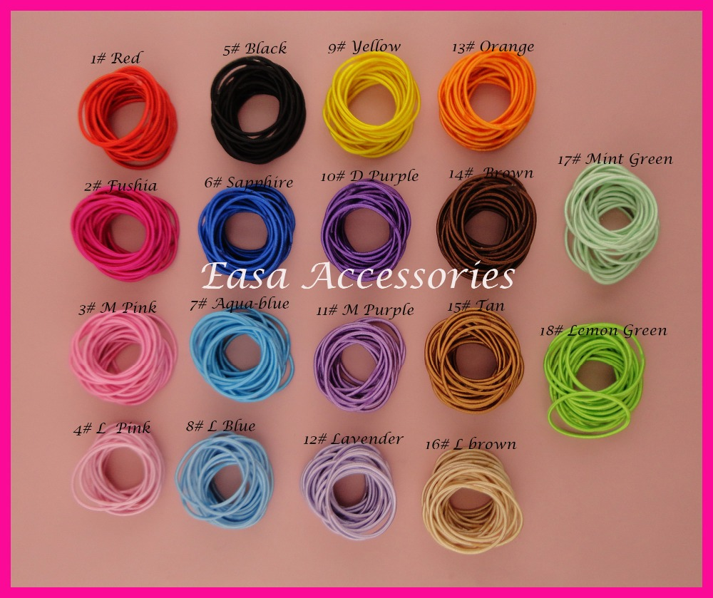 100PCS 2mm thickness 11.0cm length Assorted Colors Kids Elastic Ponytail Holders hair ties with glue connection,elastic hairband(China (Mainland))