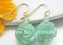 hj 002234 14mm Hand-carved flower green jade bead dangle earring 14k - statue wig gems store