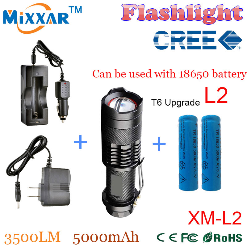 zk50 CREE XM-L2 3500LM led lanterna 5-mode Zoomable Waterproof led Flashlights Torch+2*18650 5000mAh Battery+Charger+Car charger(China (Mainland))