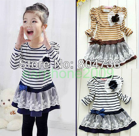 Free shipping, 5 pieces/lot, 2012 girls princess dress, Size:100-110-120-130-140,Color:Blue and Brown, Age:for 3~7 years