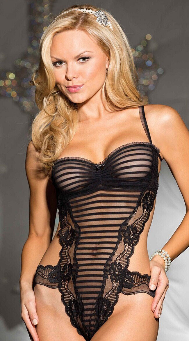 Lingerie sexy lace sheer teddy