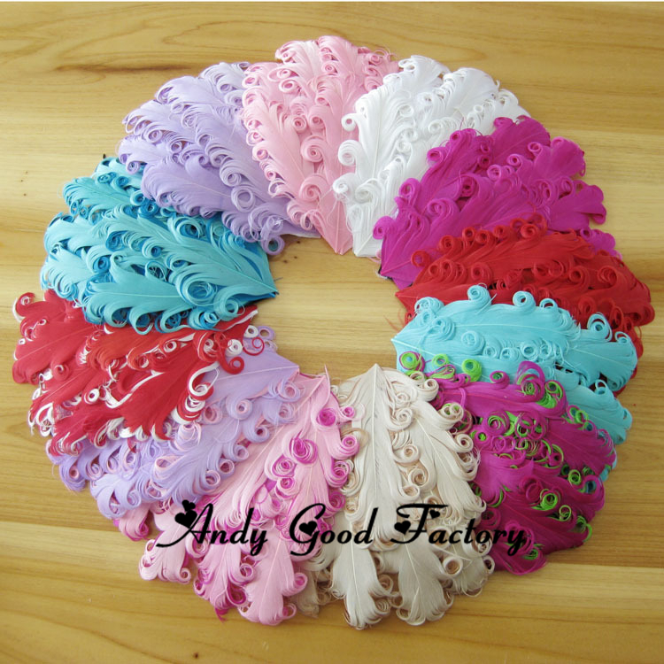 Wholesale 30 pcs lot Nagorie Pads Curled Feather Pad Curly Feather Pads for Newborn Headband Baby Headband Accessories FL063(China (Mainland))