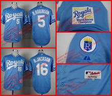 1985 Turn Back The Clock Jersey #5 George Brett #16 Bo Jackson Kansas City Royals Baseball Jerseys Light Blue,Stitched,S~3XL(China (Mainland))