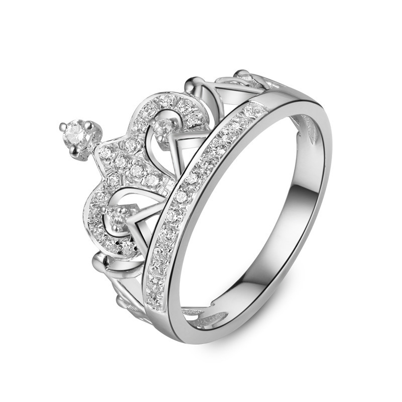 2015 New Arrival Platinum Plated Royal Crown Ring 925 Silver Wedding Synthetic Diamond Ring Engagement Sterling Silver Jewelry(China (Mainland))
