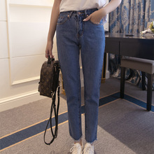 Spring new styles boy friend fit denim trousers high waist classic style straight leg women jeans