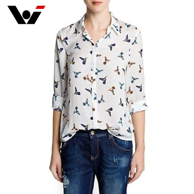 2015 NEW Women Casual Shirt Fashion Bird Printing Long Sleeve Shirts For madam Chiffon Tops(China (Mainland))