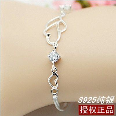 Birthday gift s925 pure silver jewelry female natural crystal lovers bracelet red string - Heaney store