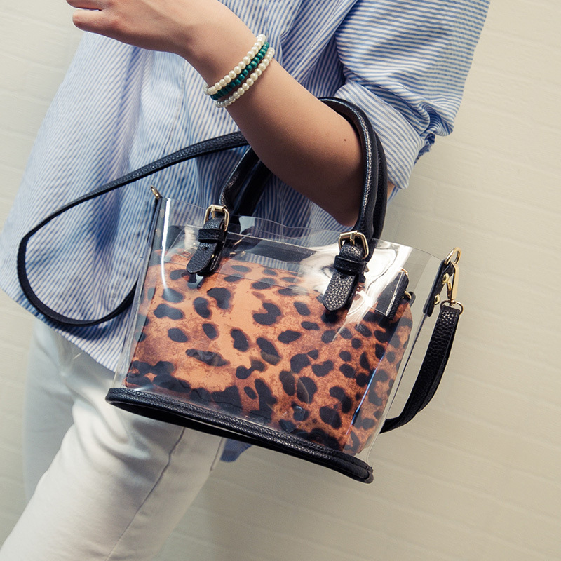 2016 Hot Summer Top-Handle Bags Leopard Clear Transparent Bags Shoulder Bag Ladies Messenger Bag Fashion Tote Handbags(China (Mainland))
