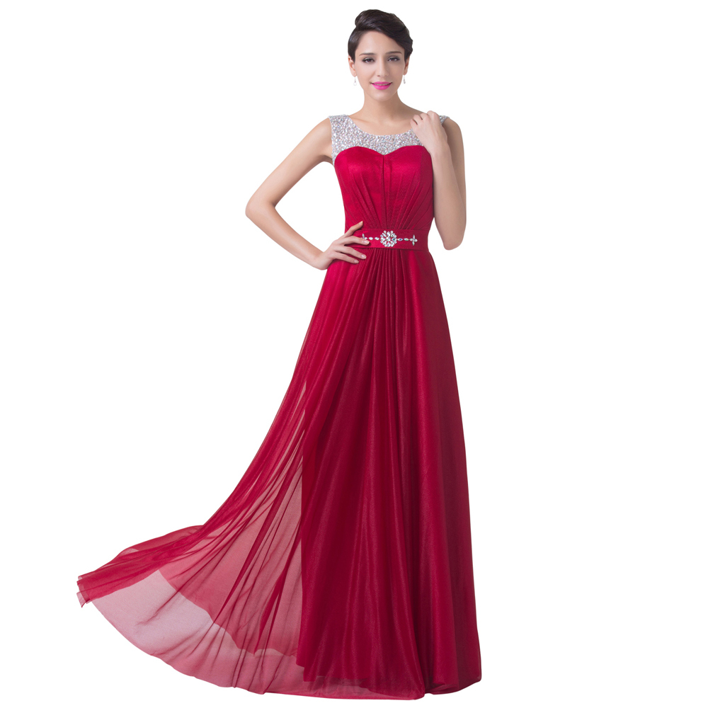 Grace Karin Sexy Red Chiffon A Line Formal Dress Wedding party Gown Floor Length Long Bridesmaid