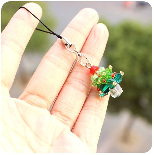 Min Order $15 Mini Colorful Christmas Tree Mobile Phone Pendant Key Chain Charm Plastic crystal Fashion Jewelry Gifts(China (Mainland))