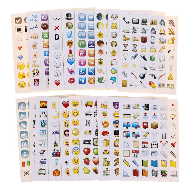 19 Sheets 912 Die Cut Stickers Lovely Emoji Stickers Pack for Phone(China (Mainland))