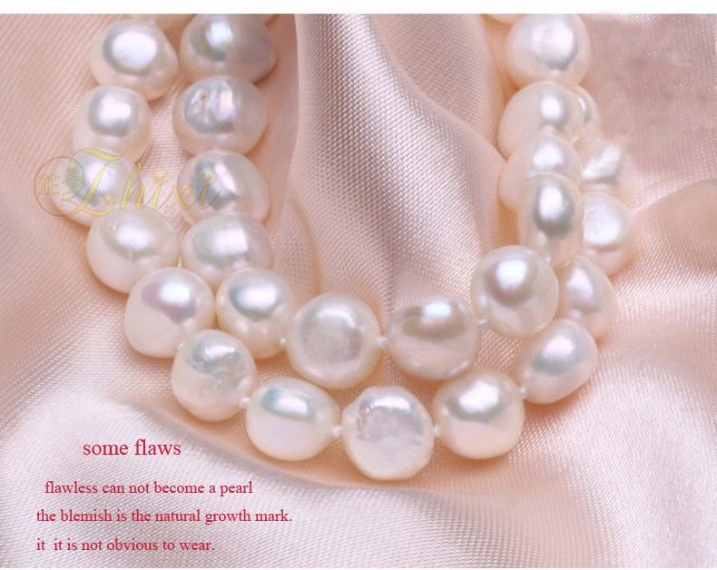 HTB19YpFKFXXXXXJXVXXq6xXFXXXk - [ZHIXI] Pearl Jewelry Fine Freshwater Pearl Necklace Natural Baroque Pearl Necklace 9-10mm White Stone Choker For Women X1009