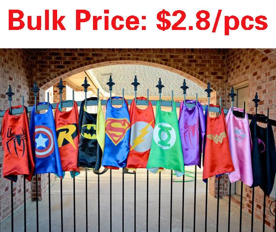 70cm*70cm kids superhero cape - Superman Spiderman for kids Halloween Party gift Children's Costume(China (Mainland))