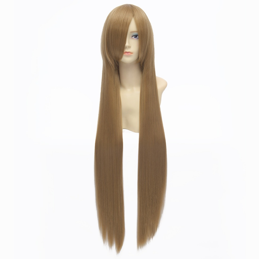 100cm Flaxen Brown Straight Long Synthetic Full Cosplay Costume Fancy-dress Wig