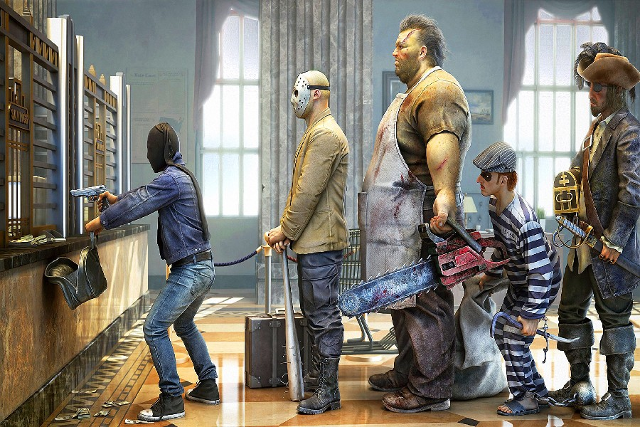Man With Gun Rob A Bank Funny Fantasy Artwork Fabric Silk Poster Print Picture For Gift(China (Mainland))