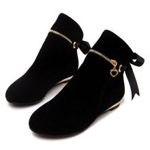 New style cute five colors 43 large size autumn winter boots suede bow shoes for women short round toe solid ankle boots(China (Mainland))