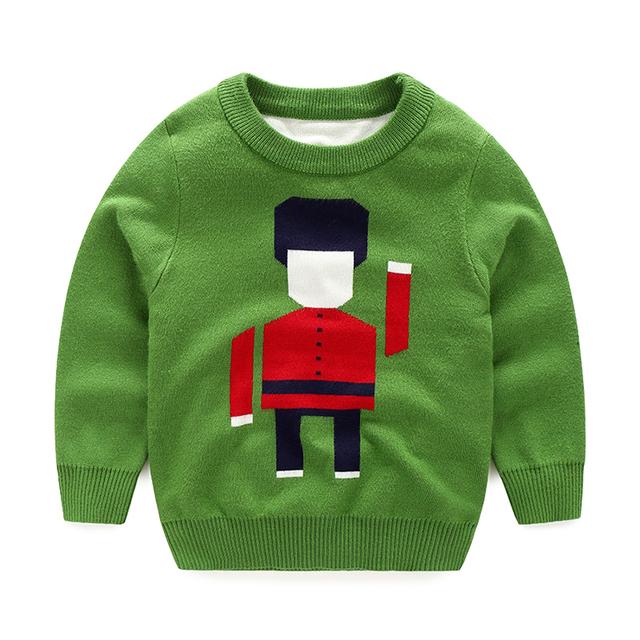 2016 Осенняя Мода Детская Одежда Мальчиков Шею Длинным Рукавом Робот Пуловеры Свитер Бесплатная Доставка 0772