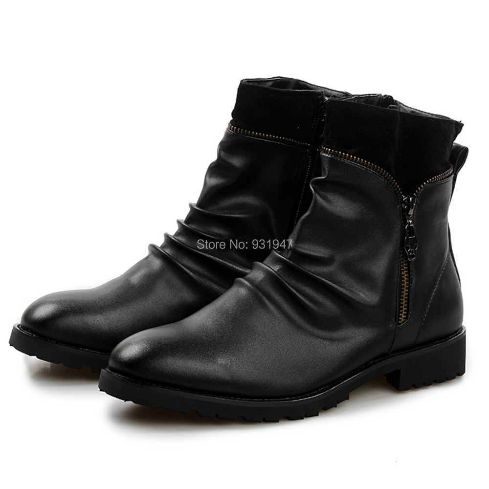 fashion stylish pleated leather martin ankle boots