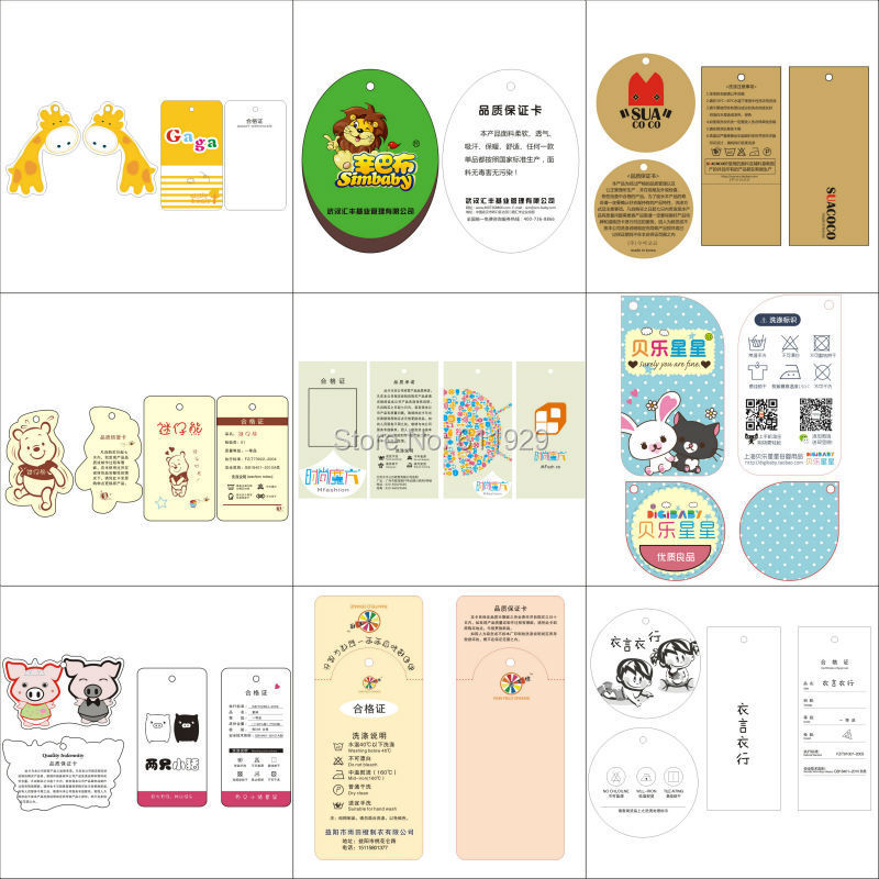 customized kids clothing hang tag/labels/children garment printed tags/round paper tags/brand name/logo printing 1000 pcs a lot(China (Mainland))