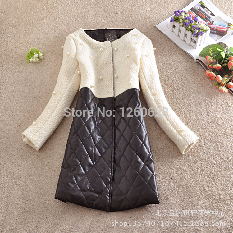 High-end winter women desigual cc brand wool coat pearl beaded leather patchwork down jacket long wool cashmere slim outerwear(China (Mainland))