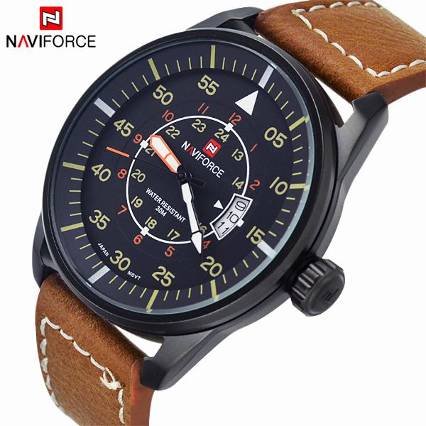 Гаджет  New Fashion Relogio Masculino Military Casual Sports Watches Men Quartz Waterproof Leather Watch Brand Men Wristwatch NAVIFORCE  None Часы