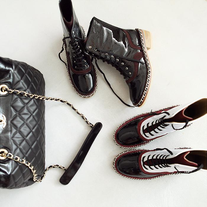 European and American style chain of high-end version of the retro high leather boots women Martin boots Knight<br>